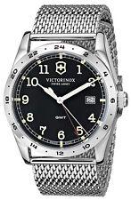 Victorinox 241649 Infantry GMT Black Dial Stainless Steel Mesh Men's Watch