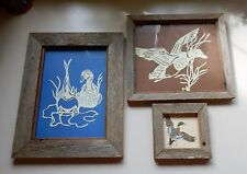 Vintage Barnwood Frames 1 Counted Cross Stitch 2 Paper Cuttings of Ducks 1980's