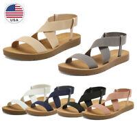 Women's Flats Sandals Elastic Ankle Strap Crisscross Open Toe Summer Shoes US