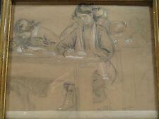 """L MILLET 1915 ANCIEN JOLI DESSIN TABLEAU """" EN COMPOSITION DE DESSIN """" SIGNE"""