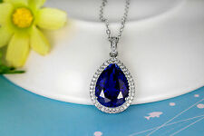 Noble Jewel Luxurious 10.8CT Sapphire 925 Sterling Silver Pendant Necklace