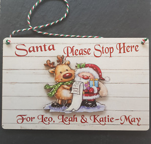 Santa Please Stop Here for Personalised Hanging Christmas Xmas Door Sign Plaque