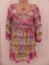 Pretty Per Una UK10 pastel coloured lace tunic top (unlined), pink, blue, green