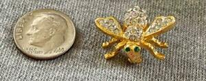 Joan Rivers Clear Paved Crystal Bumble Bee Pin Brooch with Green Rhinestone Eyes