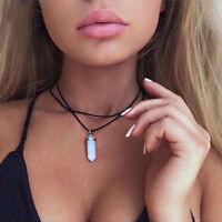 Damen PU-Leder Choker Statement Klobige Halskette Kristall Anhänger Halskette