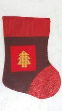 Calza della befana rosso marrone con albero di Natale grande x festa bambino