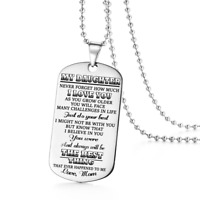 To My Daughter Love Mom Dog Tags Necklace Birthday Gift Military Graduation