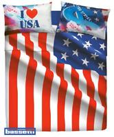 BASSETTI Imagine. Completo Letto, Lenzuolo - copriletto USA FLAG. Matrimoniale.