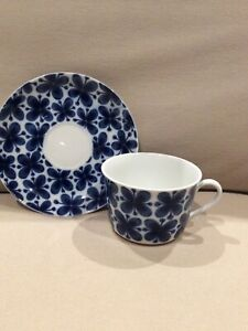 Rorstrand Mon Amie Coffee Cup & Saucer Blue Flower White Porcelain