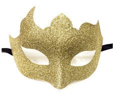 Gold Glitter Venetian Masquerade Mask Poison Ivy Halloween Fancy Dress Costume