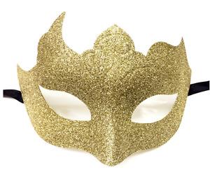 Gold Glitter Venetian Masquerade Mask Poison Ivy Halloween Fancy Dress Costume
