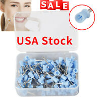 100pcs Dental Polishing Polish Cups Prophy Cup Latch Type Brush Rubber Blue