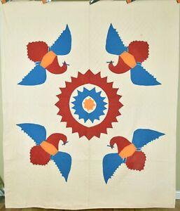 PATRIOTIC Vintage Four Block Eagle Applique Antique Quilt ~MUSEUM QUALITY!