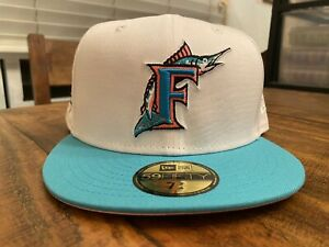 FLORIDA MARLINS 10th Anniversary 2 TONE SOUTH BEACH New Era Fitted 7 3/4 Pink UV