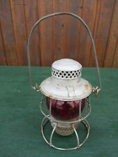 Vintage Train Railroad Lantern Signed CNR and Has RED Glass Globe