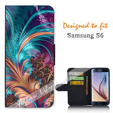 For Samsung Galaxy S6 Wallet Flip Phone Case Cover Beautiful Feather Y00798
