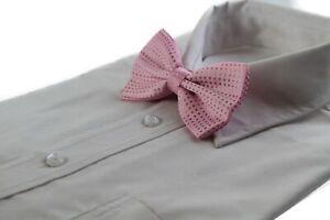 Mens Light Pink Polka Dot Patterned Bow Tie