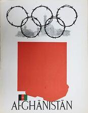 Jeux Olympiques de Russie Lithographie 1980 affiche Politique Afganistan chars