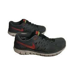 Mens 9 8 42.5 Nike Flex Run 2013 Gray Running Shoes 579821-003 Red Swoosh