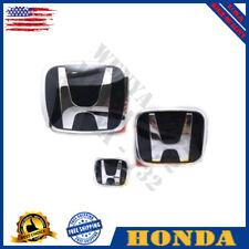 Honda Civic Sedan 4Dr 16-20 Black Chrome JDM H Front Rear Steering emblem grille