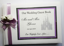 DISNEY CASTLE PERSONALISED WEDDING GUEST BOOK (LILAC)
