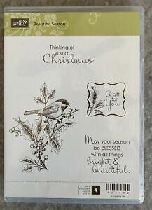 BEAUTIFUL SEASON Stampin UP rubber stamp set / 4 holiday CHRISTMAS bird greeting