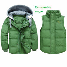 Winter Jackets Boy's Thick Coats Removable Down Parkas Vest Hooded 3-11Y