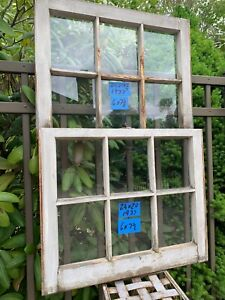2 - 24 x 20 Vintage Window sash one of kind old 6 pane Top & Bottom From 1937