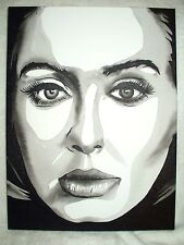 Canvas Painting Singer Adele Laurie Blue Adkins A B&W Art 16x12 inch Acrylic