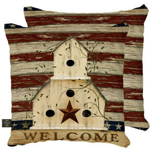 "Americana Welcome Patriotic Decorative Pillow Primitive Indoor Outdoor 17"" x"