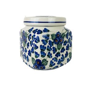 Vintage Polish Unikat Boleslawiec Pottery Jar with Lid Blue Green Flowers