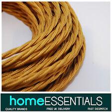 Vintage style anglais or tissu torsadé tressé 3-core 0.75mm² lampe câble