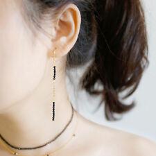 Lange Damen Ohrhänger Obsidian echt Sterling Silber 925 Schwarld Ohrringe