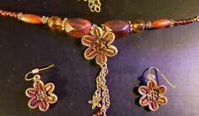 Brass Plated Brown & Amber Colored Gem & Beaded Necklace and Earring Set - 24""