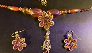 """Brass Plated Brown & Amber Colored Gem & Beaded Necklace and Earring Set - 24"""""""