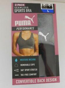 2 Pack Puma Seamless Sports Bra Size LARGE  Black Gray Convertible NEW