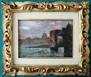 Quadro - Marina toscana (Livorno?), Gino Romiti - Olio su tavola - 25,5x18 cm