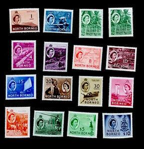 North Borneo SG372-386 set + 374a Elizabeth II 1954 unmounted & m/mint CV £103