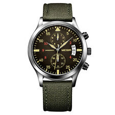 MEGIR Chronograph Quartz Wrist Watch Date Mens Sport Military Army Green Strap