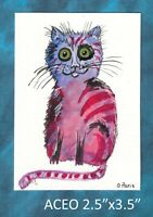Original ACEO - Naive Cat - miniature gouache painting, not framed