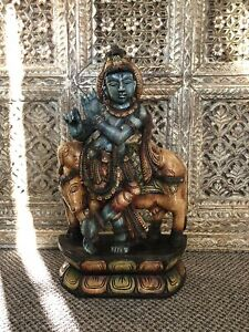 Hindu Lord Krishna Hand Carved Wooden Statue, Home Decor, Religion