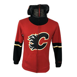 Calgary Flames YOUTH MEDIUM 10-12 Full Zip Hoodie Sweatshirt Reebok FACE OFF NHL