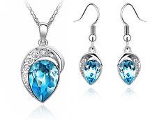 Leafs Jewellery Set Ocean Blue Crystal Teardrop Drop Earrings & Necklace S347