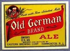 Eastern Brewing OLD GERMAN BRAND ALE beer label NJ 12oz