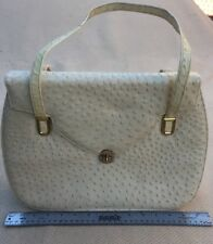 Frenchy Of California Off White Ostrich Leather? Flap Bag