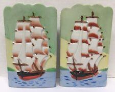 2- Vintage Ceramic Wall Pocket TALL SAILING SHIP Japan Pat. 64211 Hand Painted