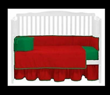 """Baby Doll Bedding Skirt Ruffle 14""""drop, Red/Green **SELLING SKIRT RUFFLE ONLY***"""