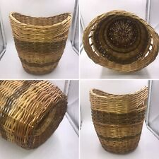Unusual Vintage Wicker Rattan Hand Woven Basket Boho Plant Holder Storage