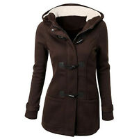 New Women's Duffle Toggle Trench Hooded Pocket Ladies Coat Jacket Outwear S-3XL