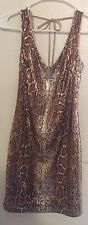 Windsor Beige With Gold Sequin Party Prom or Cocktail Dress Giraffe Print Sz 3/4
